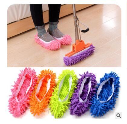 Limpiar el piso de la fregona zapatilla de microfibra limpiador del polvo Pasto de zapatillas de casa Baño limpieza del piso Fregona Zapatilla perezosos Zapatos 5 liberan