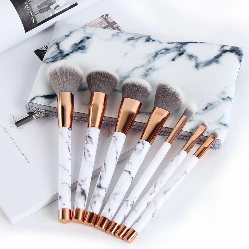 7 Unids / set pinceles de maquillaje sets cosméticos pincel 7pcs patrón de mármol maquillaje cepillo herramientas de tornillo kits de pinceles de maquillaje con bolsa cubo