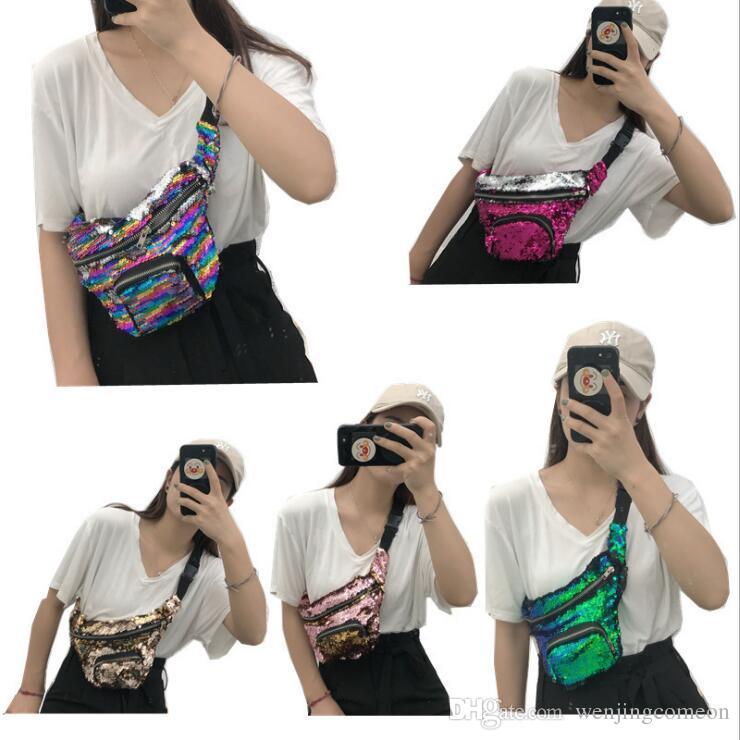 Waist Fanny Pack Belt Bag Pouch Travel Sport Hip Purse Mens Womens UNISEX Sequin Solid Waist Packs Gifts Should Chest Bag