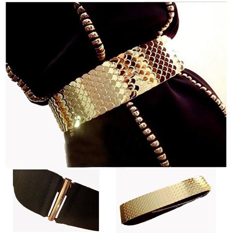 4.5cm Wide Elastic Black Belt Women Gold Belt Metal Fish Skin Keeper Belts for Women Cinto Feminino S/M/L bg-013