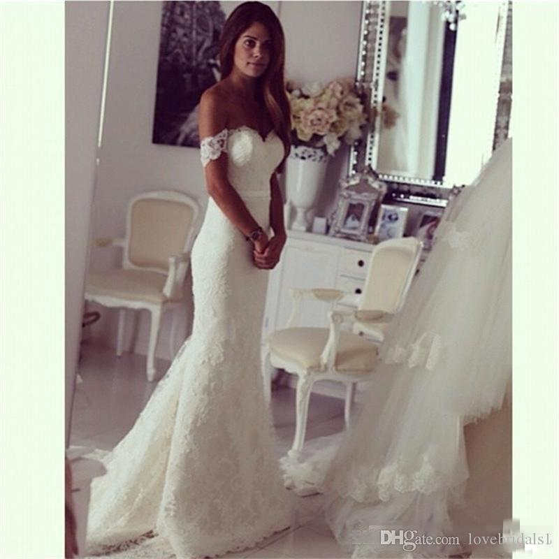 2018 Lace Off The Shoulder Mermaid Wedding Dresses Fit and Flare Bustle Tail Floor Length Bridal Gowns Custom Made