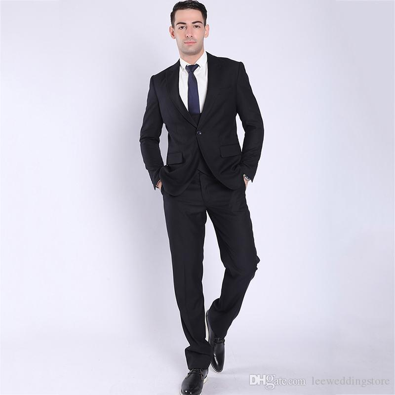 2018 Black Men Suits Peaked Lapel Business Wedding Suits Blazer Bridegroom Custom Made Slim Fit Formal Tuxedos Best Man Prom Party 2Piece