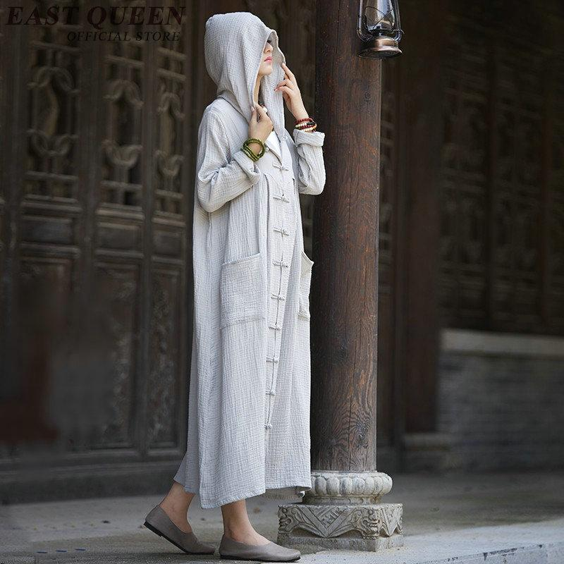 Meditation clothing ancient chinese costume traditional chinese clothing cotton and linen robe with hood AA2511 YQ