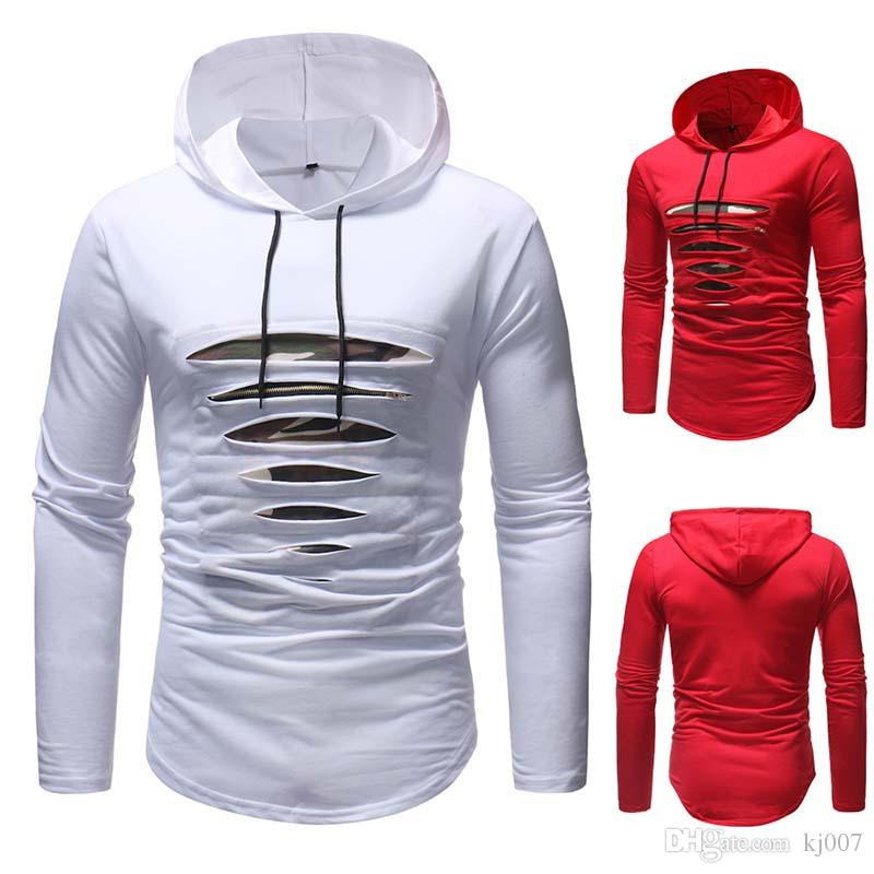 Hoodies Pullover Hip Hop Long Sleeve Sweater for Men Fashion Men's Broken Hole Zipper Pullover Sweater Sports Hooded Hip Hop Sweatshirt