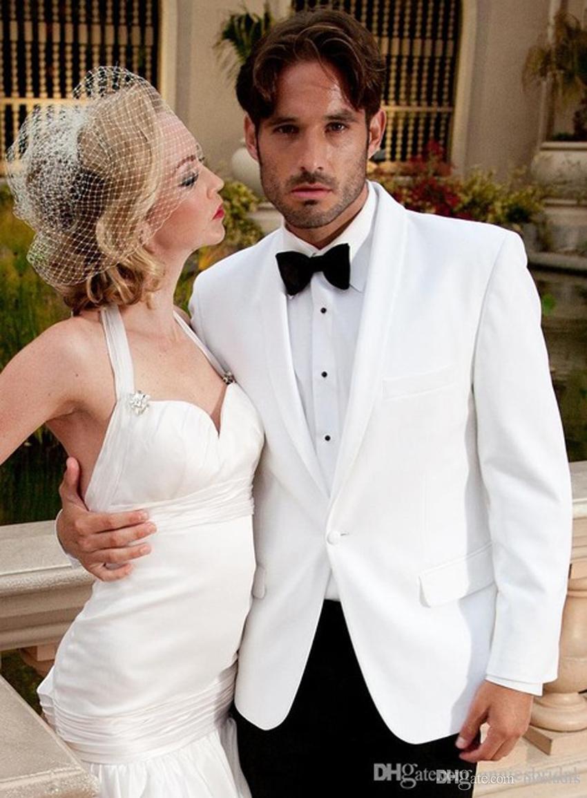 Mode Costumes De Mariage Blanc Pour Hommes 2018 Châle Revers Costumes Hommes Smokings Pour Hommes Un Bouton Costumes Garçons D'honneur (veste + pantalon + Nœud papillon)