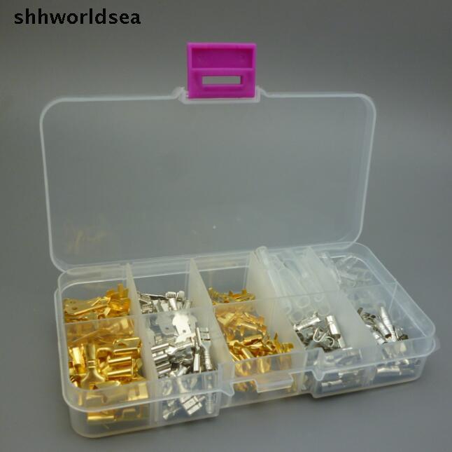 Shhworldsea 150 PZ 6.3 MM 2.8 MM 4.8 MM 4.0 MM Ordine della miscela 10 tipi Femmina Maschio Auto Spade Connettore di rame Splice Crimp Wire Terminal