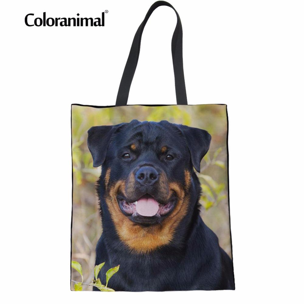 Coloranimal Rottweiler Bez Shopper Bag Sevimli Yavru Köpek Baskı Kadın Casual Çanta Katlama Yeniden kullanılabilir Çevre dostu Tuval Çanta Yeni
