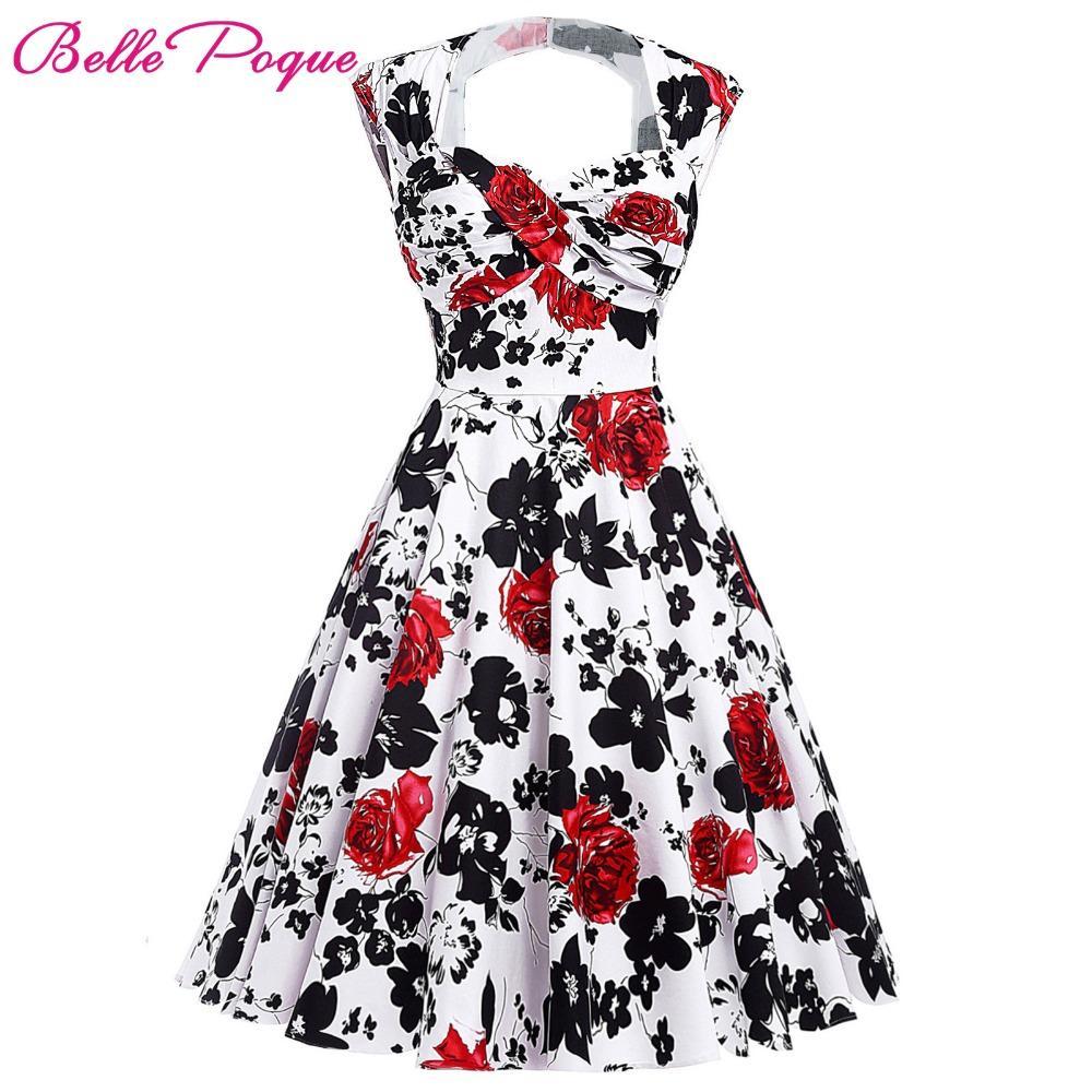Großhandel Großhandel Frauen Sommer Vintage 18er Jahre 18er Jahre Kleider  Audrey Hepburn Elegante Blumen Vestidos Frau Gewand Sexy Pin Up Rockabilly