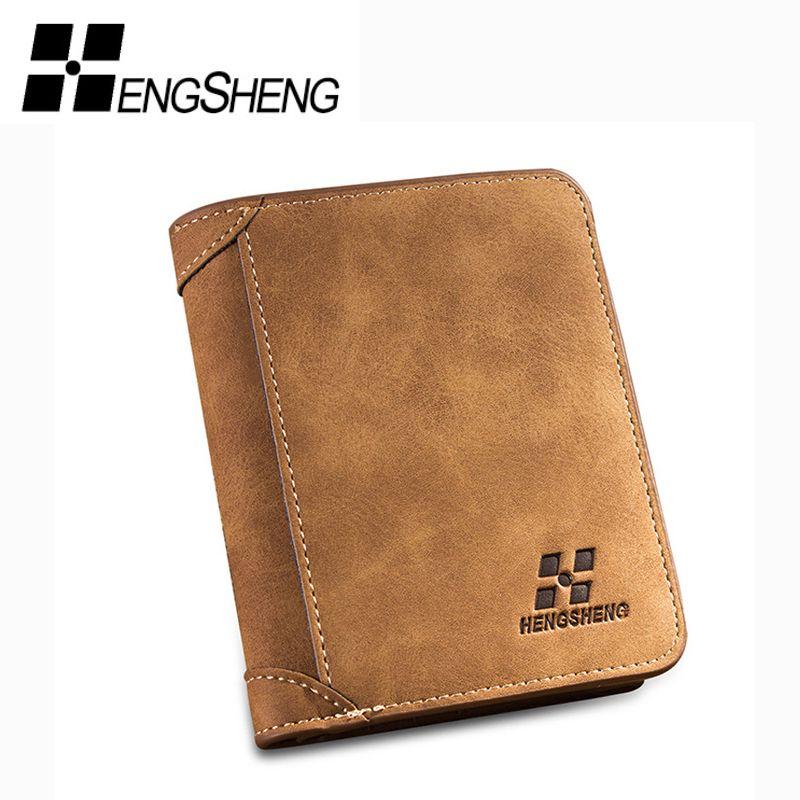 HENGSHENG HOT High Quality Men Wallets Vintage PU Nubuck Skin Short Purse Men's Three Folds Wallet For Man