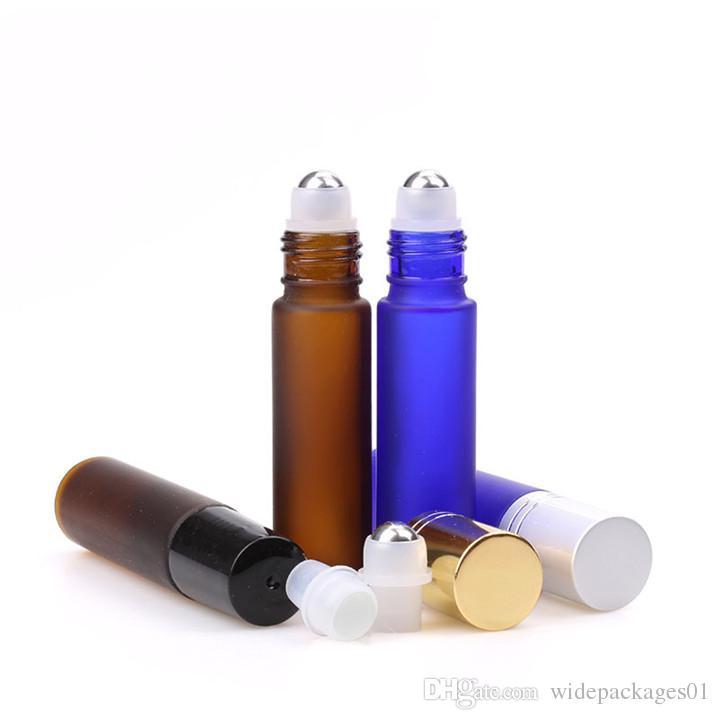 5 ml 10 ml Deodorant Sıvı Şişe Üzerinde Rulo Buzlu Amber / Mavi Cam Koku Yağ Şişesi Alümit Altın / Gümüş Kapaklı
