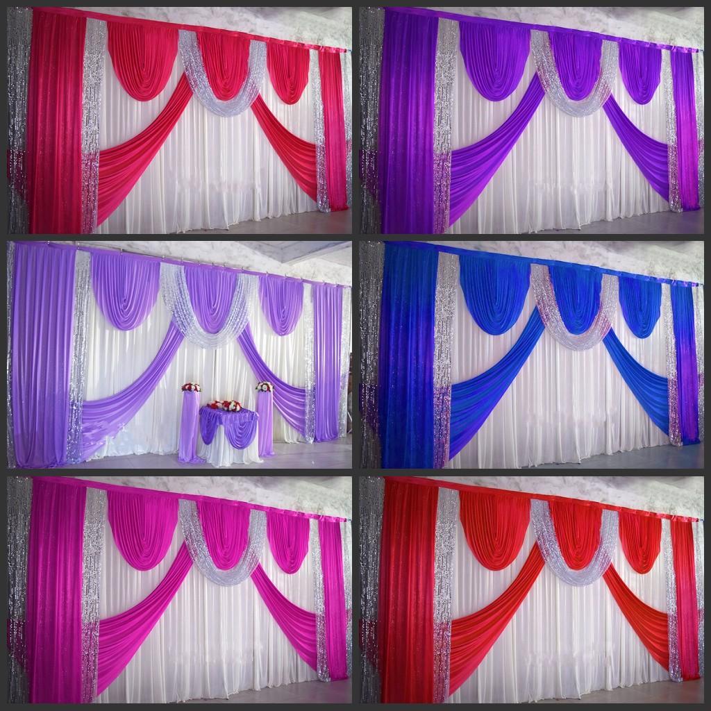 Romantische Silk Hochzeit Hintergrund Vorhänge Gold Swag Satin party hintergrund drapieren vorhang hochzeit dekoration 10ftX20ft (3X6 mt)