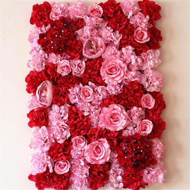 40 * 60 cm Flor de seda Pared Artificial Flor seca Pared Telón de fondo Decoración del banquete de boda Flor hotel fondo decoración de la pared Camino llevado