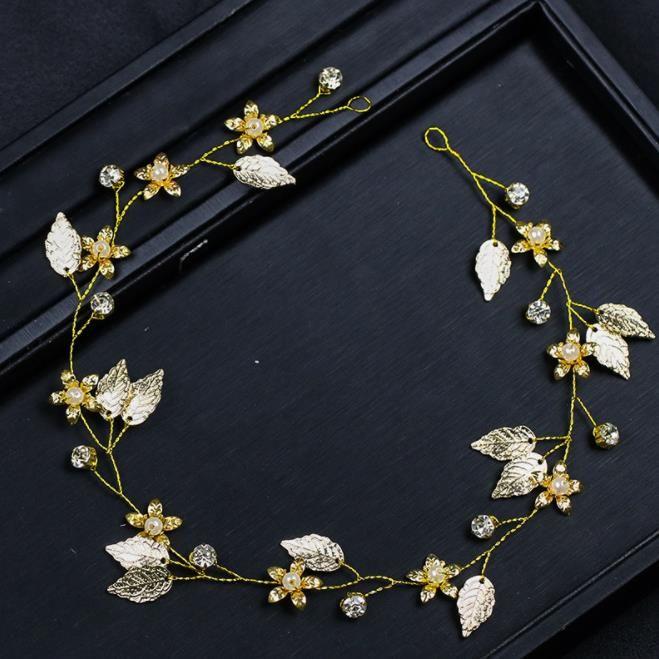 Gold leaf, hair, headwear, European and American wedding dress accessories, bridal ornaments.