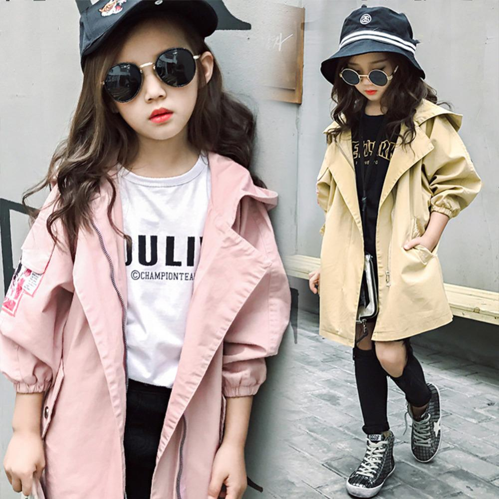 Spring Autumn Girls Trench Coats Fashion Kids Windbreaker Girl Jacket Teenager 6-14 Years Outerwear Children Parka