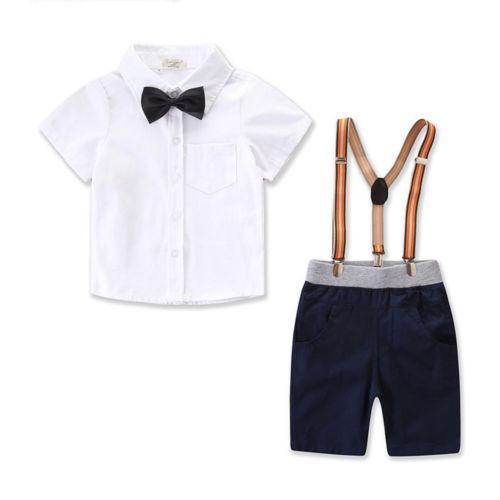 62aeb59f2b78a Acheter Bébé Garçon Parti Gentleman Costume Set Chemise Noeud Papillon  Combinaison Vêtements Vêtements Bébé Enfant Garçon Enfant Vêtements Set De  Mariage 1 ...