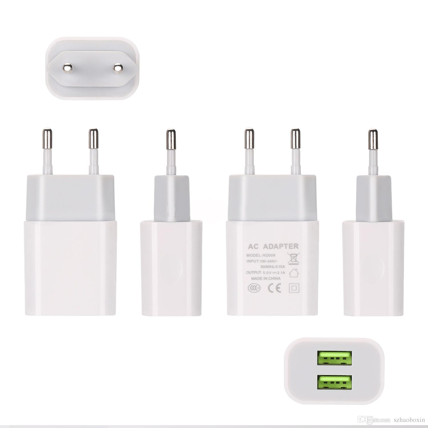 2 Ports Multi USB Wall Charger US EU Plug Travel Cell Phone Charger Fast Charging for smart phone
