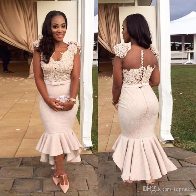 2018 Arabic African Style Mermaid Bridesmaid Dresses Lace Beaded Sheer Back  Wedding Party Dresses Plus Size Tea Length Cheap Maid Of Honor Wedding ...