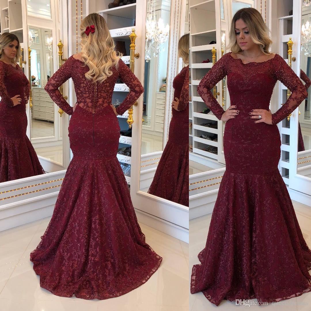 großhandel mode burgund langärmelige ballkleider mermaid juwel spitze  abendkleider perlen bodenlange besondere anlässe abendkleid abiballkleider  von