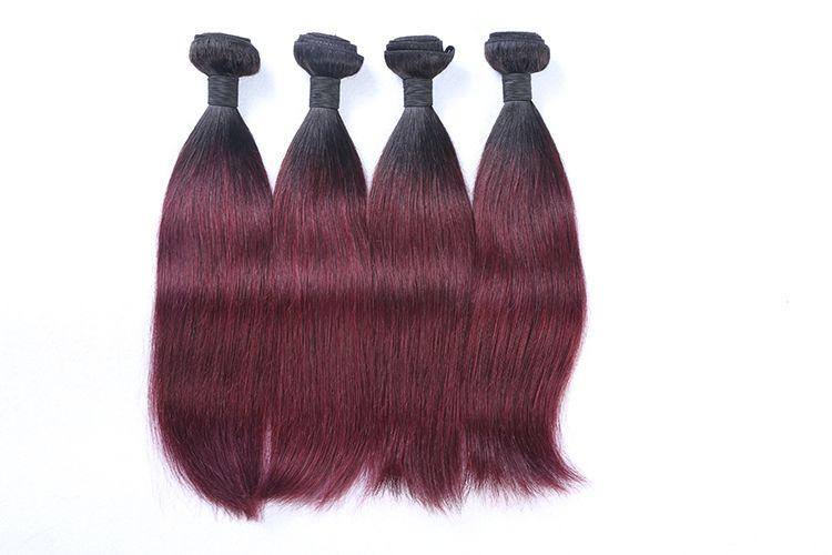 Burgundy Brazilian Straight Hair Ombre Human Weave Bundles Two Tone 1b 99J Hair Weaving 100g/pc Non Remy Hair