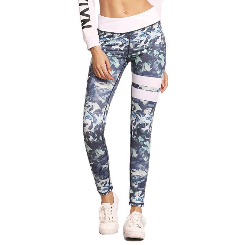 Impressão digital casual calças de Fitness Yoga bottompants esportes apertado elástico stretch calças magros das mulheres