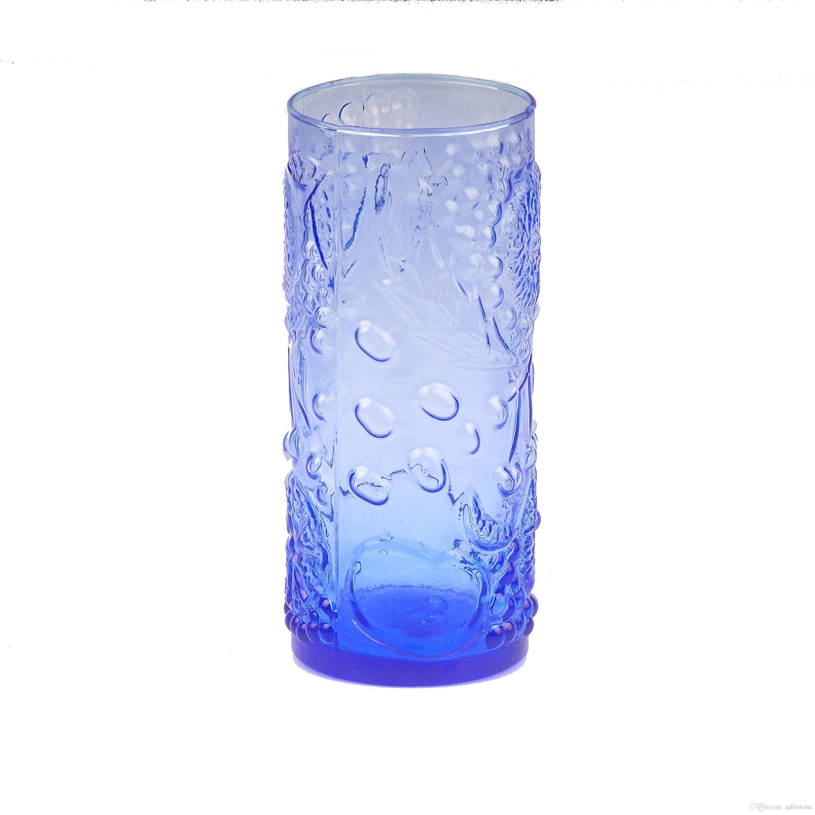 500ML Dark Blue Crystal Fruit decorative pattern Glass Whiskey Wine Drinking Glass Cup Beer Glasses Pint Juice Glass Drinkware vase
