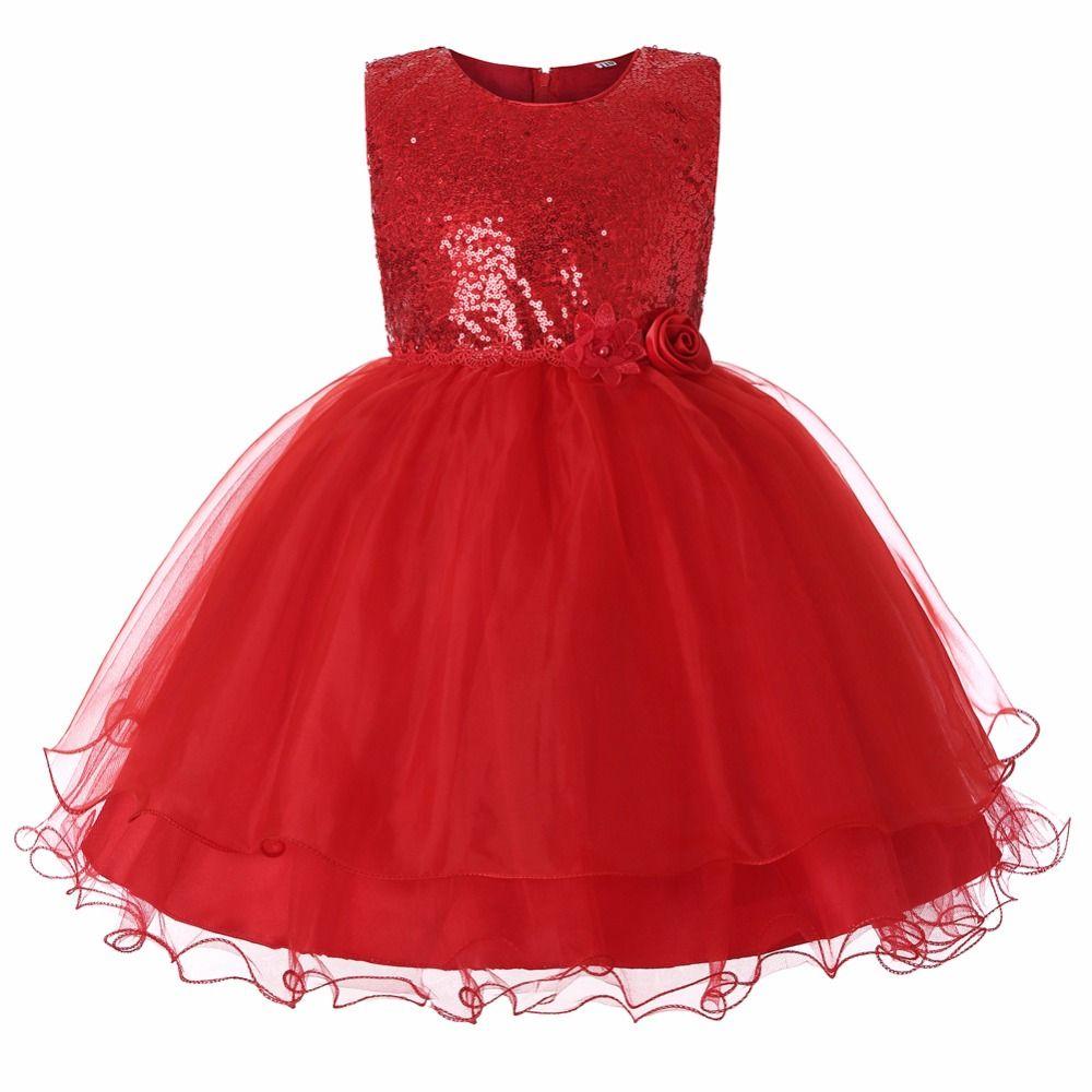 Compre Vestido De Niña Elegante Vestidos Rojos Para Niñas Vestidos De Niñas Con Lentejuelas Para Fiesta Y Boda Vestido De Princesa Con Flores De Tul A