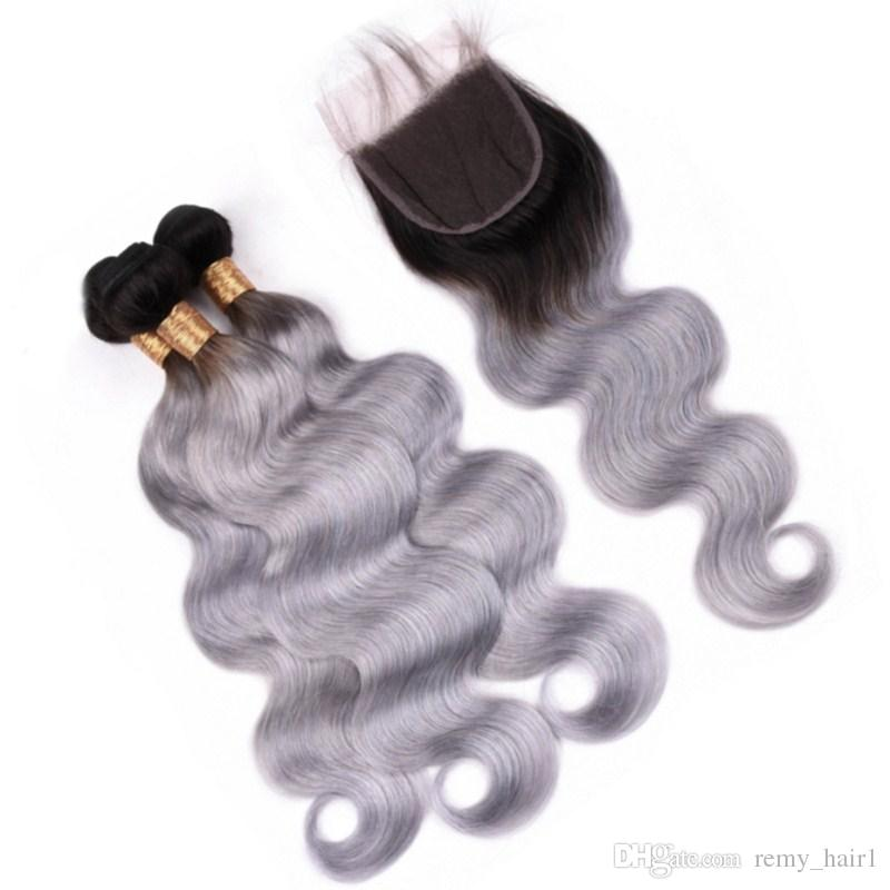 Body Wave 1b / Grey Ombre Brownian Virgin Human Hair Pointles con cierre Ombre Silver Grey Hair Weave Themfs con cierre delantero de encaje 4x4
