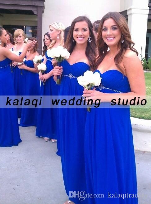 Royal Blue Long Bridesmaid Dress 2018 Cheap Strapless gasa vestidos de dama de honor Una línea de menos de 100 mujeres para la madre de la novia