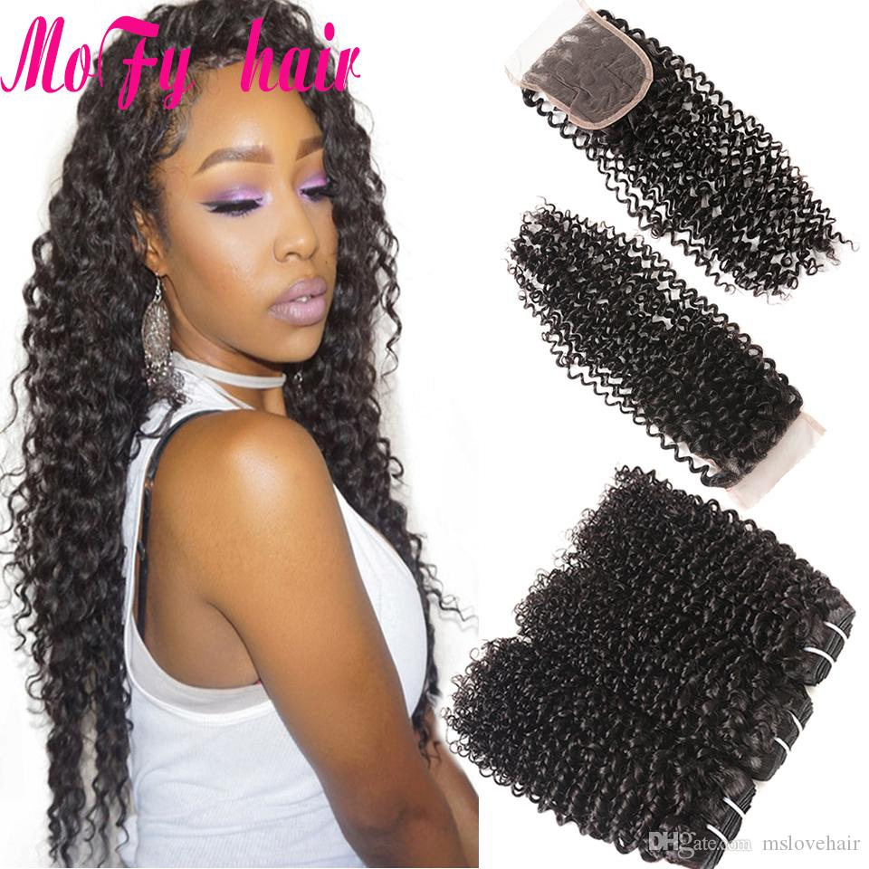 Mofy Malaysian Kinky Curly Hair 3 Bundles With Closure Baby Hair Free Part 4pcs/Lot Human Hair Bundles With Closure Cheap Remy Weaves