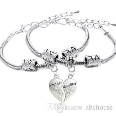 Brief Mutter und Tochter Paar Herz Armband Familie Liebe Mom Armband Herz Charms Armreif Mutter Tochter Armbänder