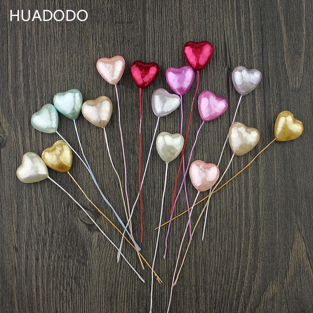 Оптово-HUADODO 10шт Пена сердце тычинки искусственные цветы ручной работы на свадьбу Scrapbook венки украшения