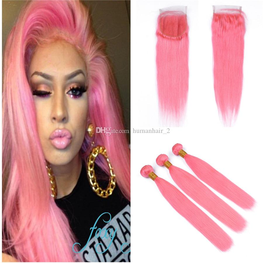 Pink Lace Closure With Bundles Brazilian Virgin Human Hair Bundles 3Pcs With Lace Closure Bleached Knots Straight Bundles For Sale