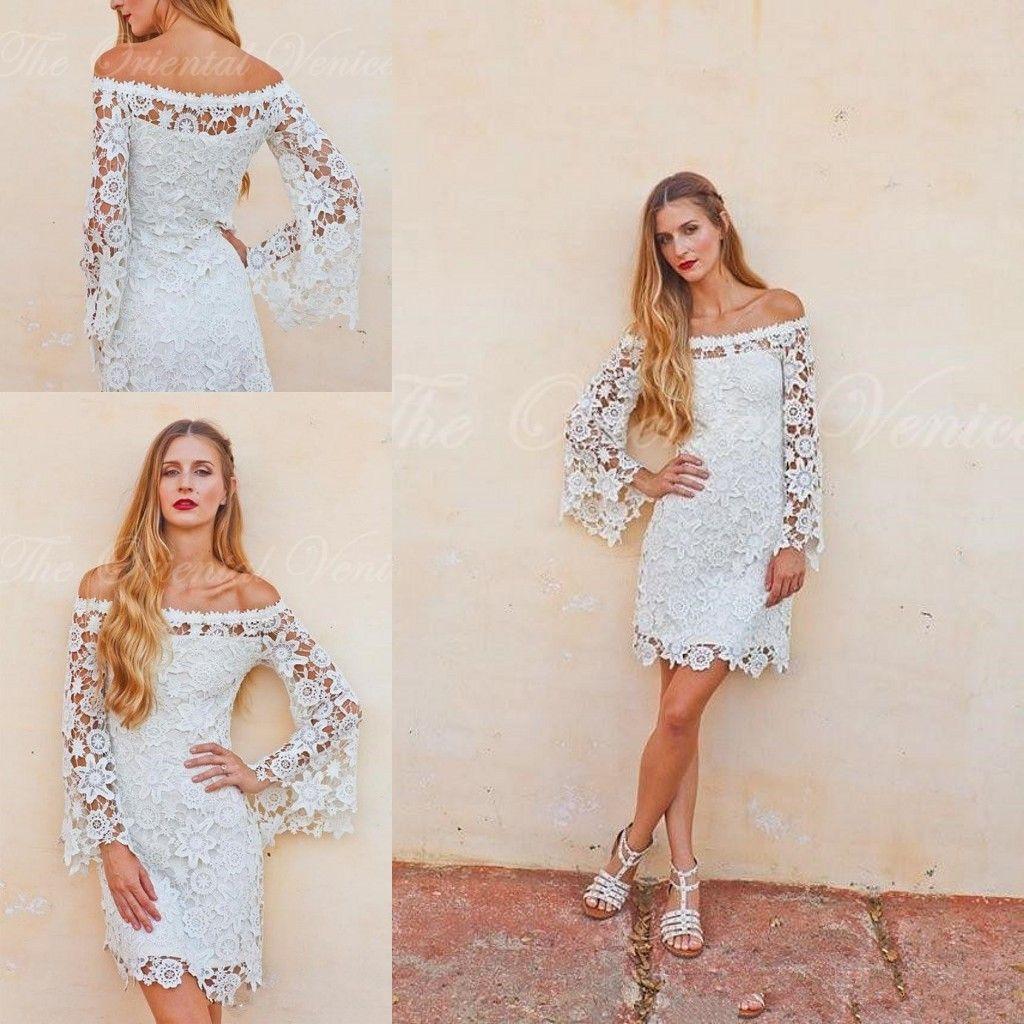 Bell long Sleeves Crochet Lace Boho Hippie Wedding Dress Off shoulder Vintage Inspired 70s Style Short Reception Wedding Dresses