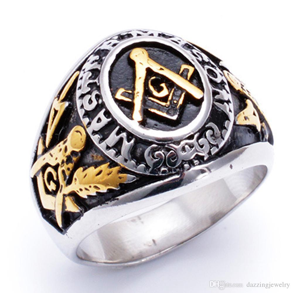 Нержавеющая сталь Мужская Золотая Серебро Черный Два Тон Масонские Кольца Ювелирные Изделия Freemason Mason Sepedet Ring