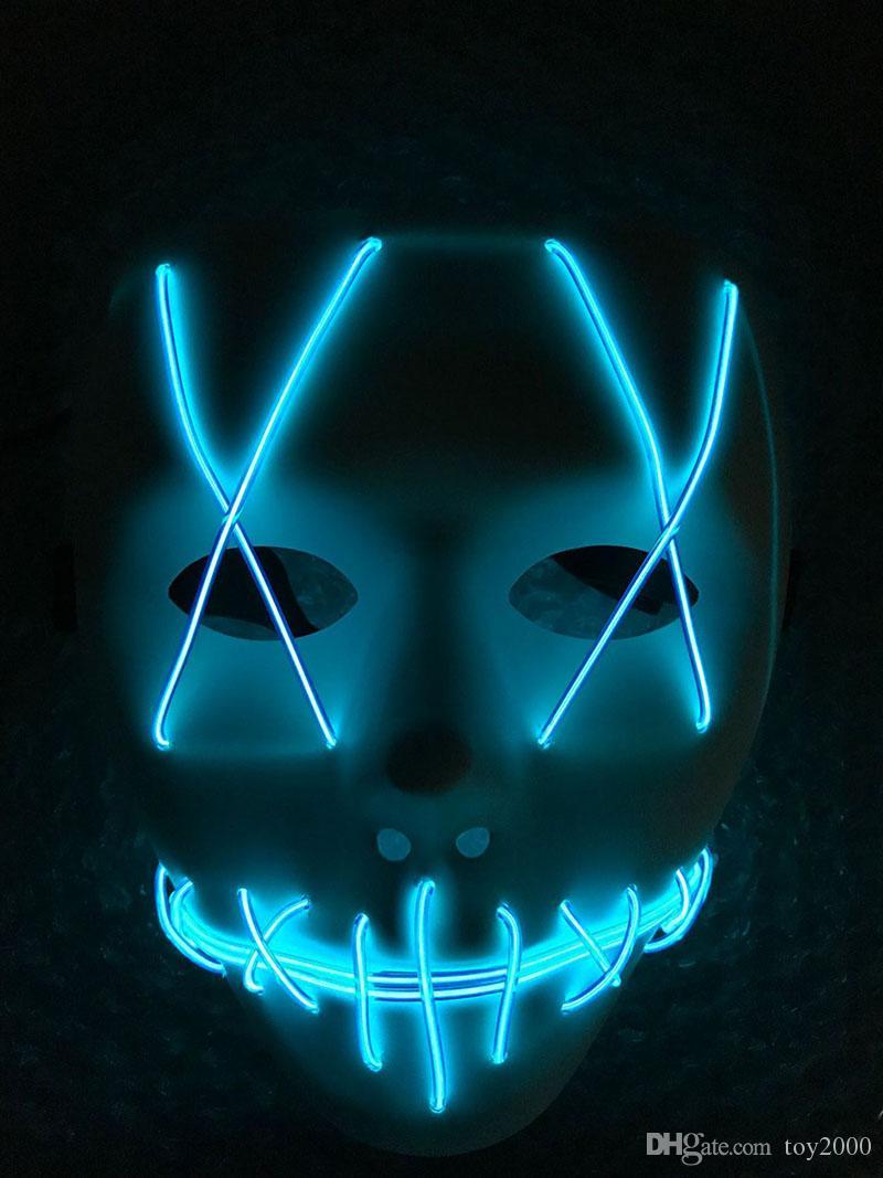 Светодиодные Маска Up Смешные маска светодиодные полосы Гибкие неоновая Light Glow EL Wire Rope неоновый свет Хэллоуин лицо контроллера рождественские огни