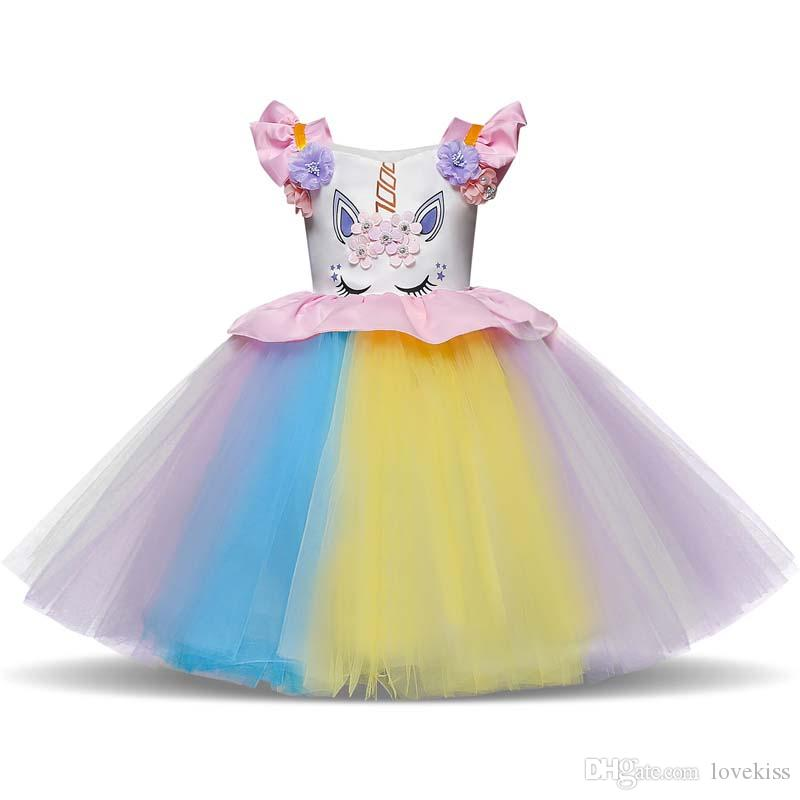 Cosplay Unicorn Girls Dresses tutu Childrens Princess Dresses Pettiskirt birthday Party Dress lace long Kids Dresses baby girl clothes A2128
