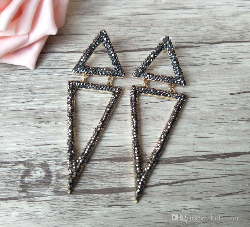 El yapımı ışıltılı ER359 kadınlar için moda takı siyah elmas taklidi kristal çift üçgen muhteşem dangle takılar küpe açacağı