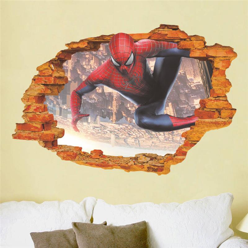 Grosshandel Spider Man Broken Wandaufkleber Fur Kinderzimmer Dekoration 3d Super Hero Film Wandbild Kunst Avenger Home Decals Poster Kinder Geschenk