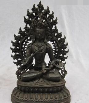 bi003353 10 PULGADAS Tíbet Folk Fane colección Bronce Antiguo Vajrasattva Kwan-Yin Estatua de Buda