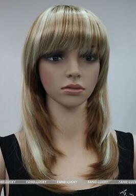 FIXSF497 nuevo estilo largo moda rubio mezcla marrón salud peluca peluca pelucas para mujeres