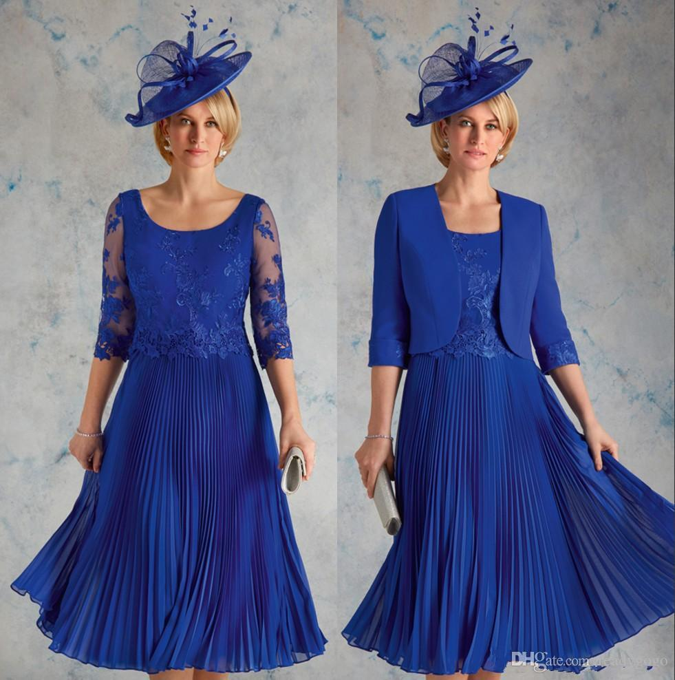 Royal Blue Lace Mother Of The Bride Dresses Scoop Neck With Half Sleeves Wedding Guest Dress Pleated Chiffon Knee Length Evening Gowns Winter Mother