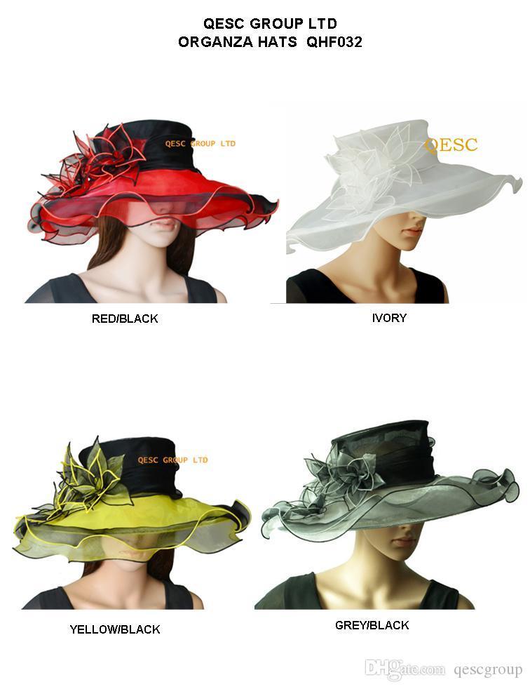 NUOVO elegante cappello a tesa larga organza / cappelli da sposa con fiore foglia per matrimonio / festa / chiesa / gare.4 colori, 5 pz / lotto