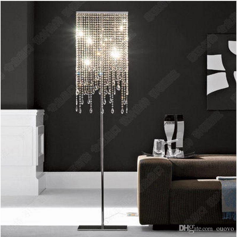 Nowoczesny luksusowy kryształowy salon Lampy podłogowe Sypialnia Bedsydes Square Chrome Base Floor Light Dining Room Study Room Lampy podłogowe