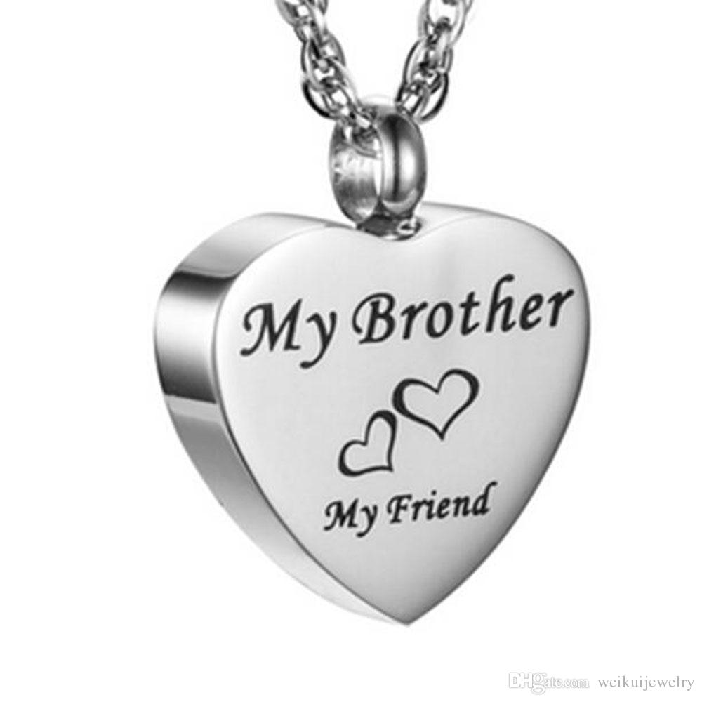 Wholesale funeral and funeral jewelry engraved words my brother heart-shaped plaster box pendant cremation stainless steel souvenir necklace