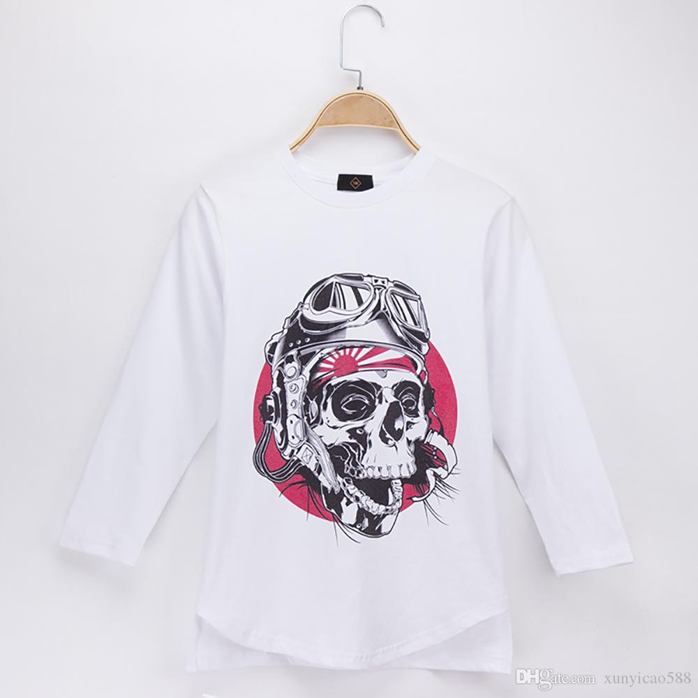 2018 Hot Sale Kids Clothes Children T-shirt Skull Print Full 100% Cotton O-Neck Child Shirt Boys Long T Shirts Girl Baby Top Teen Tee 4-14T