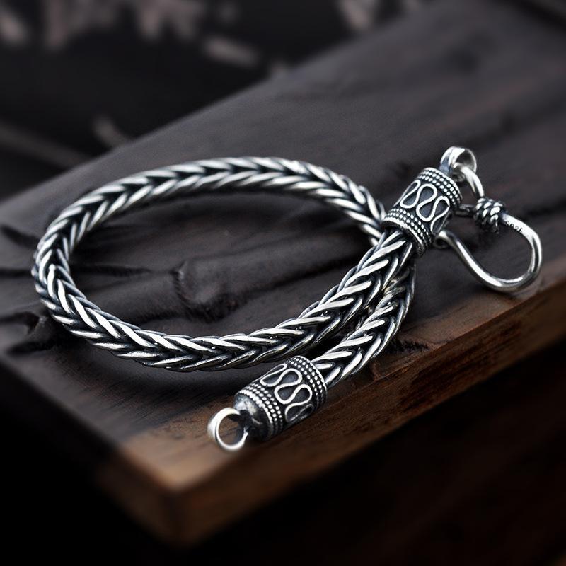 Vintage reale Pure Catena 925 argento fatti a mano braccialetto intrecciato per gli uomini monili del Mens Bracciali 2017
