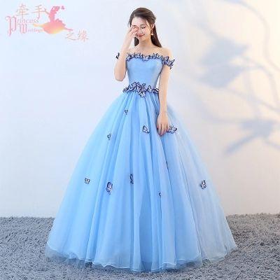 роскошные светло-синий бабочка вышивка бальное платье средневековый платье Мультфильм Принцесса средневековый Ренессанс платье королева косплей Виктория платье
