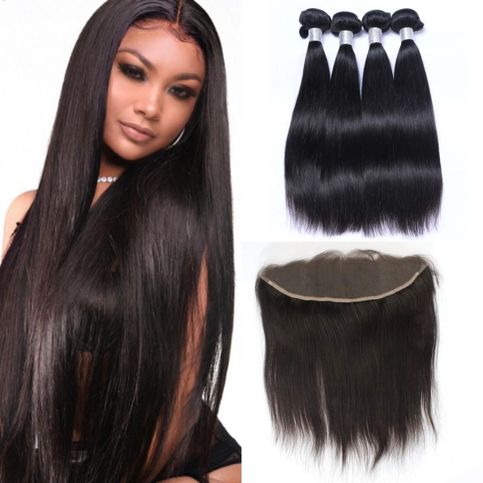 Brazilian Straight Human Hair with Frontal 13x4 Ear to Ear Full Lace Frontal Closure with 4 Bundles