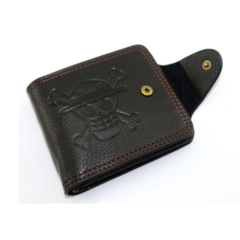 الرجال بنين قطعة واحدة لوفي المحفظة القرد د لوفي قبعة القش قراصنة أنيمي الجمجمة محفظة محفظة أسود بو الجلود