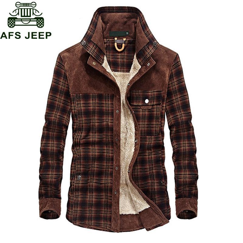 Afs зимняя куртка мужчины толстый теплый флис куртка пальто мужской плед куртки чистый хлопок кашемир верхняя одежда размер M-3XL